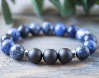 Boyfriend Bracelet Midnight Blue Bracelet Husband Gift Black Matte Onyx Bracelet Daddy Bracelet Brother Bracelet Gay Jewelry Rocker Bracelet