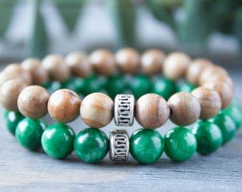 Green and Brown Couples Bracelets His and Hers Long Distance Relationship Green Jade Wood Bracelet Boyfriend Girlfriend Matching Bracelets