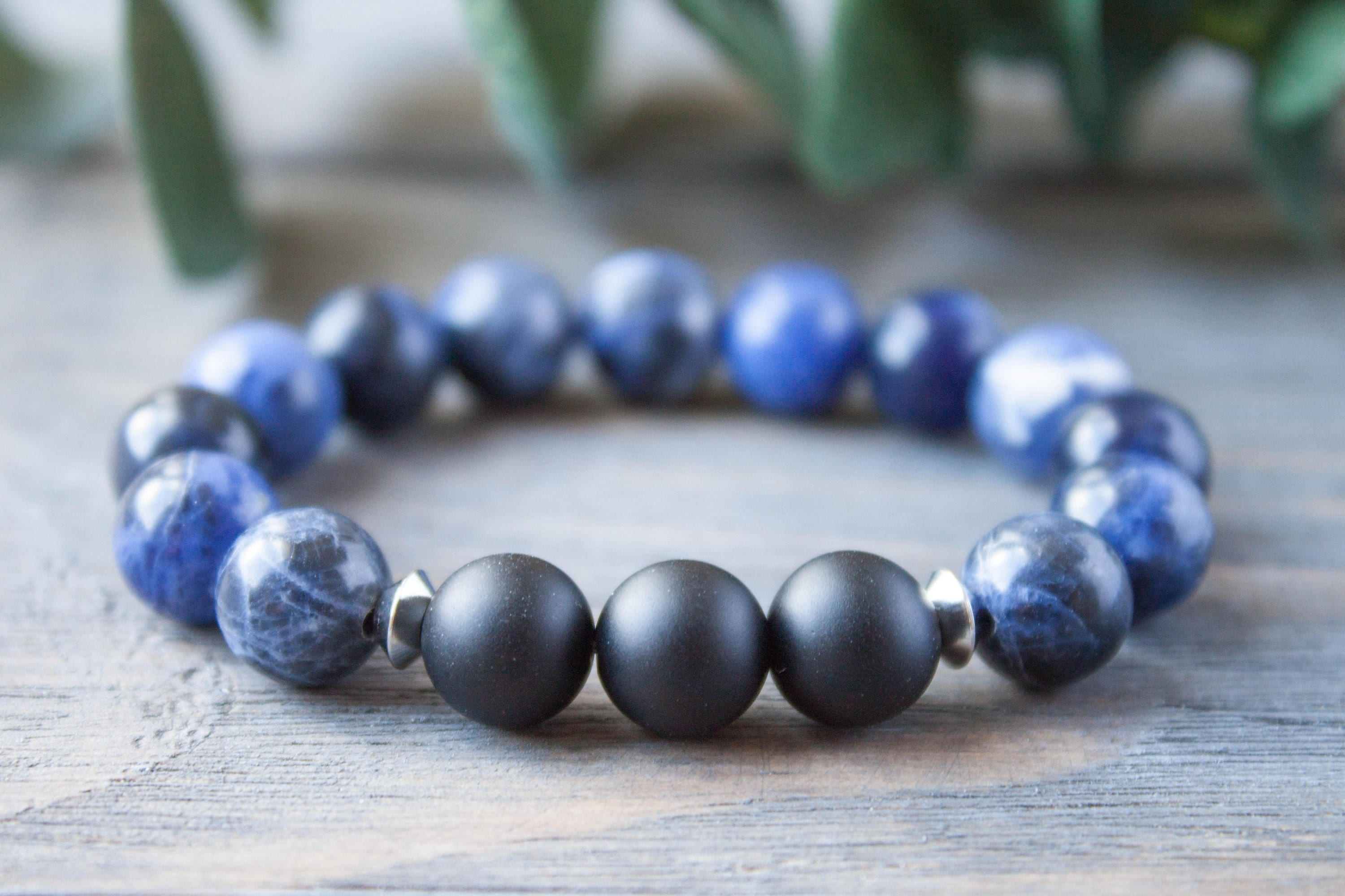 product dark one glossy mens bracelet onyx beaded matte the mascule black