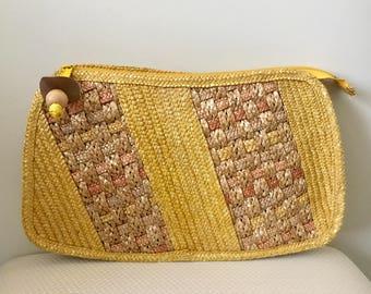 Vintage Yellow Straw Clutch