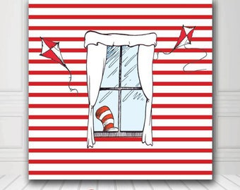 Photobooth Backdrop - Photography Backdrop - Cat in the hat Backdrop - Digital/Vinyl Printed - FREE SHIPPING