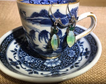 Opalescent Green and Forest Green Crystal Navette Earrings