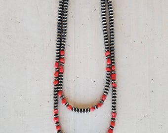 Red Coral And Navajo Pearls Necklace