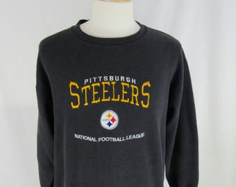 Vintage 90s Pittsburgh Steelers NFL Football Crew Neck Made in USA Size Large CSA