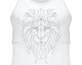 white tank top- Lion low poly black and white - F-WD-018
