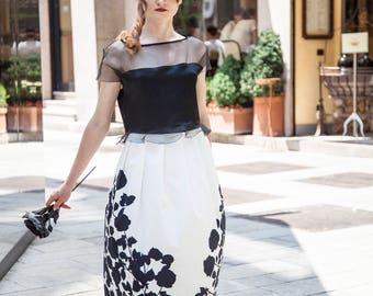 Long black white skirt