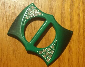 Vintage Lucite Plastic Green and Rhinestone Buckle