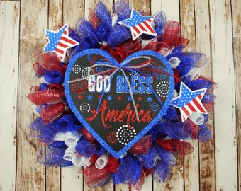 Free Shipping, Patriotic Wreath, Fourth of July, Independence Day, Memorial Day, Veterans Day, Labor Day, Red, White and Blue, Front Door