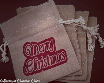 Merry Christmas Gift Bags, Muslin Bags, Merry Christmas Muslin Bags, Gift Bags, Favor Bags, Customized Favor Bags, Customized Muslin Bags