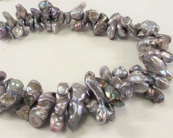 6-9 x 8-20 mm Silverish Purple Keishi Freshwater Pearl Beads,Top Drilled Purple Keishi Pearls, Rare Dancing Cultured Pearls (326-KPP0620)