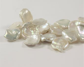13-14  mm Natural White Corn Flake Keishi Freshwater Pearls, Top Drilled Keishi Pearl Beads, Limited Edition Natural Pearls (351-KW1314)