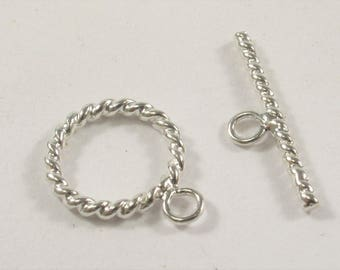 15 mm .925 Sterling Silver Toggle Clasp, Twisted Sterling Silver Toggle, .925 Sterling Silver Toggle, Silver Toggle Clasp (424-TGS15)