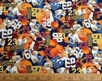 Basketball players cotton fabric by the yard