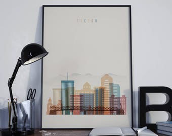 Tucson Art Tucson Watercolor Tucson Wall Art Tucson Wall Decor Tucson Home Decor Tucson Skyline Tucson Print Tucson Poster Tucson Photo