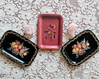 vintage mini tin tray set of 3 | floral metal plates | rose lithograph tole trays