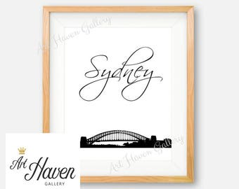Sydney Wall Art, Sydney Print, Australia Wall Art, PRINTABLE City Wall Art, Sydney Poster, City Skyline Print, Sydney Harbour Bridge Print