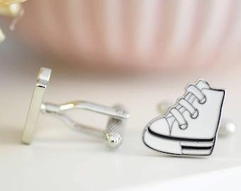 White Trainer Style Cufflinks