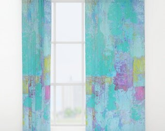 Window Curtains Double, Turquoise blue curtains panels - FREE Shipping