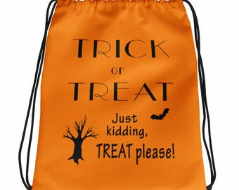 Trick or Treat Drawstring Bag