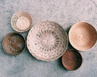 Wall Basket Collection, Boho Decor, Set of 5 // SALE