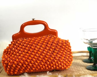 Vintage Orange Beaded Purse Made in Italy // Beaded Bag