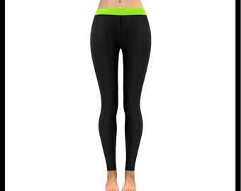 Black and Lime Green Low Rise Leggings