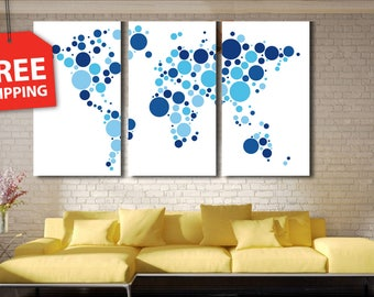 "Multi panel world map. Canvas painting ""World map circles"" Wall Art decor Poster Print Flover Extra Large Wall Decor FREE SHIPPING!"
