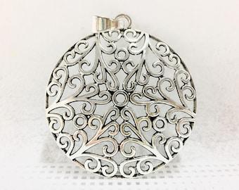 Silver charm large pendant / Large round hollow pendant_Ref 4907_6.5cm round