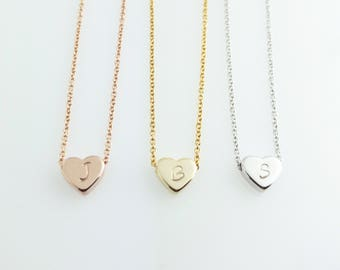 Hand Stamped Initial Lovely Anklet / Gold Silver Rose Gold Plated / Dainty Personalized Heart Charm Anklet / Birthday Bridesmaids Gift
