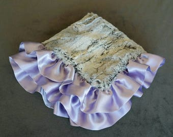Silver Rabbit Security Blanket with Satin Ruffle in Lavender