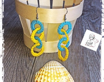 Summer crochet turquoise and yellow circles earrings