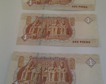 3Egyptian pound  ,serial number ,sign tarekamer