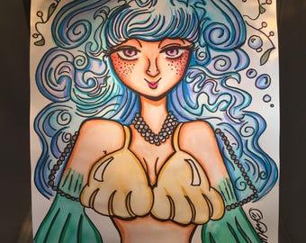 Mermaid A3 ORIGINAL ARTWORK