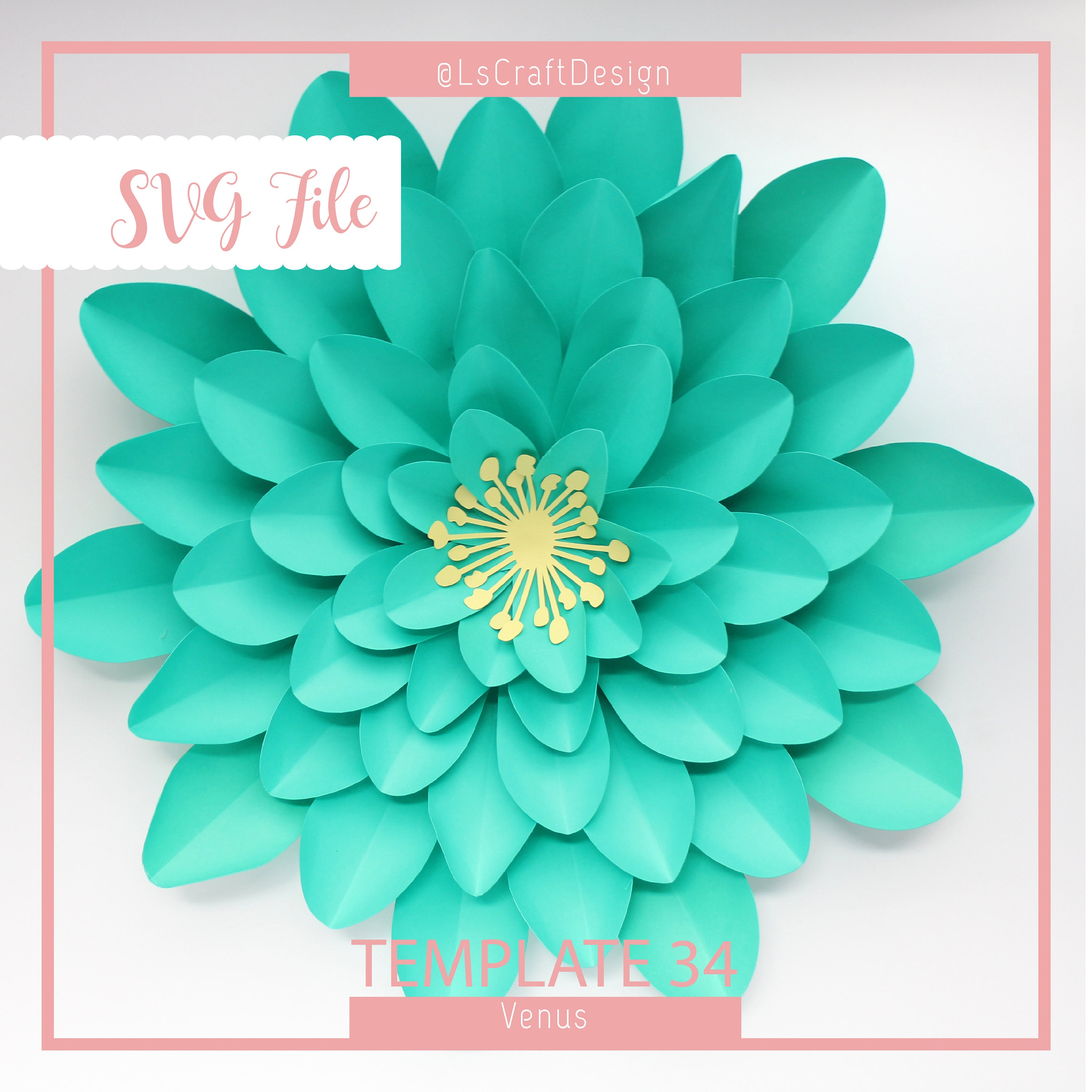 holiday gift svg paper flower template giant paper flower
