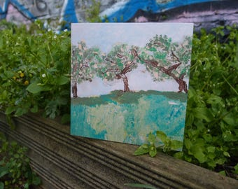 Trees/Unique/Fine art greetings card/Blank card/Made in the UK/Spring in Victoria Park