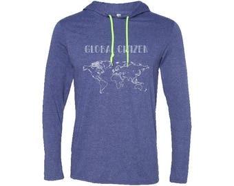 Global Citizen Mens T-Shirt Hoodie | Hiking Hoodie | Adventure Hoodie | Gift for men | Vintage | Valentines day gift | Camping Hoodie