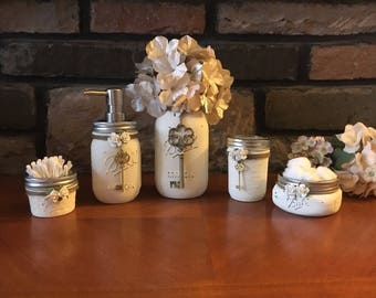 mason jar bathroom setbathroom mason jar set soap dispenser mason jars - Bathroom Jar