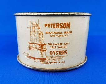 Peterson 8 ounce Delaware Bay oyster tin can. From Peterson Packing Co., Port Norris, NJ.