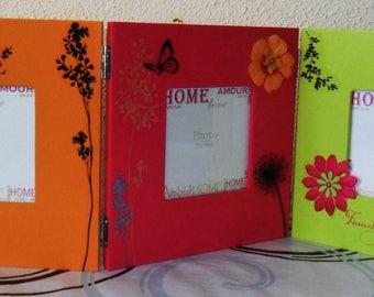 FRAME PHOTO triptych flashy colors - handmade