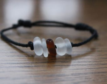 Brown and White Beach Glass Cord Bracelet