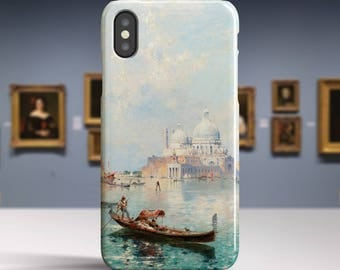 "F. R. Unterberger, ""Gondolas in front of..."". iPhone X Case Art iPhone 8 Case iPhone 7 Plus Case and more. iPhone X TOUGH cases."