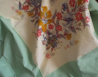 Vintage Linen Floral Green Bordered 1960's Kitchen Table Cloth