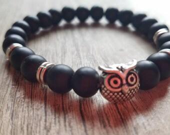 Lava Rock Beaded Owl Bracelet