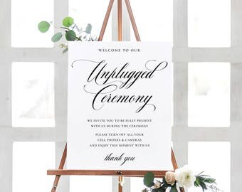 Printable Unplugged Ceremony Signs, Unplugged Wedding Signs, Calligraphy Unplugged Signs, No Cell Phone sign, Printable PDF Instant Download