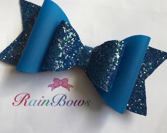 Glitter Hair Bow - Blue