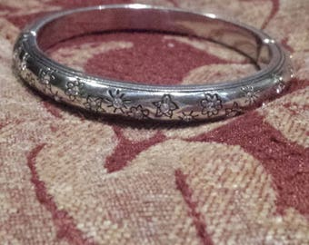 Vintage Brighton Bangle/Silver Plated Bangle/Silver Magnet Bangle/Silver and Rhinestone Bangle/Silver CZ Bangle/Bracelet Under 30.00/No.074