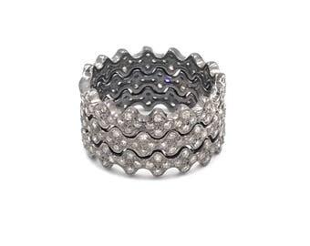 Diamond eternity stacking rings, Diamond sterling silver rings, Push present rings