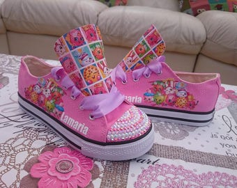 Girls Custom Design High Low Tops Personalised shoes Sneakers Chucks Kids Trainers Shopkins Movie