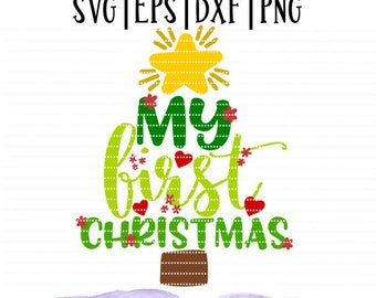 My first Christmas Girl SVG File / Baby cut file / Holiday design / little boy/ little girl/ Cut file for silhouette or cricut/ Christmas