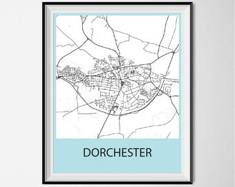 Dorchester Map Poster Print - Black and White